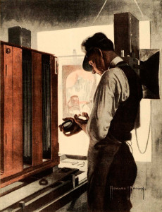 Photographing art for engraving in 1920. The same types of cameras were used into the 1950s.
