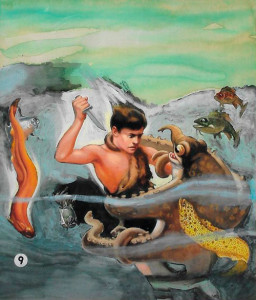 "Original cover painting for ""Bomba the Jungle Boy and the Underground River,"" the ninth book in the series."