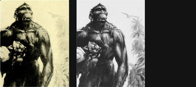 On left: the original printing of the illustration; On right: the restored illustration.