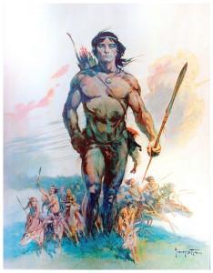 """Tarzan and the Ant Men"" Frank Frazetta watercolor, 1961"